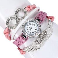 engel webt großhandel-Armbanduhren für Frauen Top Marke Luxus Damen Armband Weben Wrap Quarz Leder Engel Flügel Armbanduhren