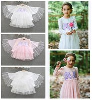 Wholesale clothes wings online - Baby girls unicorn wings dress children embroidery princess dresses autumn Boutique kids perform Dress Clothing MMA923