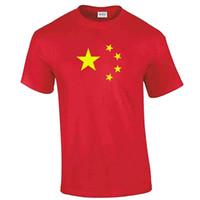 t-shirts porzellangelb großhandel-China-T-Shirt - Rot mit gelben Sternen - wie auf der chinesischen Flagge - coole zufällige stolze T-Shirt Männer der erwachsenen Kinder Unisexmodet-shirt