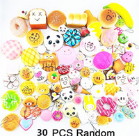 Wholesale cute cell phone charms resale online - Kawaii Cute Squishies Bun Toast Donut Bread for cell phone Bag Charm Straps mixed Rare Squishy slow rising lanyard scented DHL