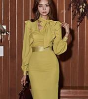 panel delgado de la cintura al por mayor-Primavera coreana y moda de otoño Nueva manga de la linterna de la cintura paquete delgado Cadera bufanda vestido