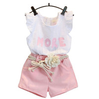 Wholesale clothing for retail for sale - Group buy Fashion pink clothes set for girl clothing set suit with flower belt children clothes retail kids baby clothes set k1