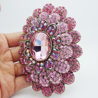 large crystal flower brooch 2018 - Fashion Jewelry Brooches New Fashion Sweet Pink Multilevel Flower Rhinestone Crystal Gold-Tone Large Brooch Pin large brooch pins