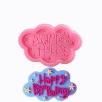 с днем рождения плесенью оптовых-С Днем Рождения Облако Пищевой Силиконовые Формы DIY мыло ручной работы Украшение Торта печенье превратить Сахар УФ-Гель капли Гель