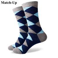 2016 new men colorful combed cotton socks Diamond styles,geometric socks,US size(7.5-12) 338