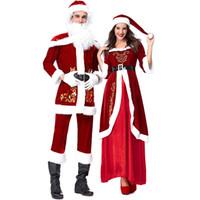kadınlar için santa claus kostümleri toptan satış-Kadife Severler Kırmızı Noel Baba Noel Kostümleri Cosplay Kadın ve Erkek Için Noel Partisi Cosplay
