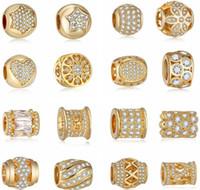 europa-perlen-art und weisearmband großhandel-Europa stil diy diamant handgefertigt echt vergoldung große lose perlen, sorten armbänder charms anhänger halskette für mode dame
