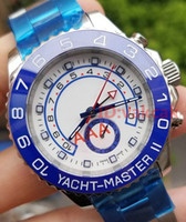 Wholesale blue glass watch - Blue Luxury Brand Watch AAA 44mm Automatic Movement Mechanical Mens Stainless Steel Watches Sapphire glass YACHT Wristwatch