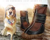 büyük köpek ayakkabıları toptan satış-Koştu Büyük Köpekler Serin Termal Deri Martin Çizmeler kaymaz Su Geçirmez Kar Ayakkabıları Köpek Wellsore Pet Pamuk-yastıklı