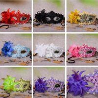 plumas de las fuentes del partido al por mayor-Máscara de plumas de encaje con flores Máscaras de Halloween Máscaras Disfraz Máscara Fiesta Máscara Suministros para fiestas festivas