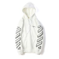 Wholesale hiphop online - New Designer Sweaters Mens Fashion Clothing Off Fashion White Striped Printed Hoodies Sweater For Men Hiphop Sportswear M XL