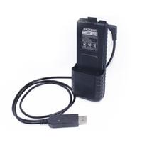 ingrosso caricabatterie per baofeng-Cavo caricabatterie Baofeng 2.5mm USB con spia luminosa per Walkie Talkie BaoFeng UV-5R 3800mAh BL-5L Batteria ad alta capacità