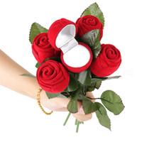 colares brincos de rosa vermelha venda por atacado-Dia dos namorados Caixa de Anel de Rosa Vermelha Brinco Colar de Pingente de Jóias Caso de Presente de Casamento Pacote de Pacote de Exibição de Presente Caixas de presente para namorada