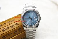 bracelets de diamant bleu achat en gros de-5 Style montre neutre 36MM 228396TB Cadran bleu cadran frontière de diamant Bracelet en acier inoxydable Bracelet montre femme automatique