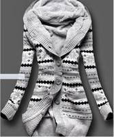 ingrosso computer uniti-Bucrsatn Spedizione gratuita 2019 Europa e Stati Uniti nuovo più velluto di spessore con cappuccio cardigan in maglia abbigliamento donna