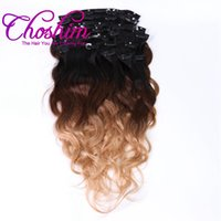 Wholesale brazilian body wave clip hair extensions - T1B Body Wave Clip In Hair Extensions Brazilian Human Remy Hair Pieces And g Set