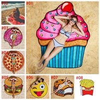 Wholesale Design Pizza - in stock 11 Designs Round Beach Towel Pizza Hamburger Skull Ice Cream Strawberry Smiley Emoji Pineapple Watermelon Shower Towel Blanket