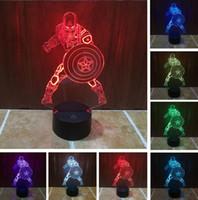 lamparas america al por mayor-Película Capitán América Escudo Figura 3D Multicolor Cambio Acrílico mesa luz nocturna ilusión LED Lámpara táctil Niño Hombre juguete de regalo para niños