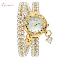Discount lady korea watch - Kimio Brand Relojes Mujer Korea Luxury brand butterfly pearls bracelet Watch Women female Ladies Dress fashion Quartz Wristwatch