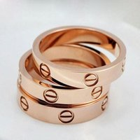 Wholesale titanium wedding rings online - Luxury Brand Titanium Steel Silver Rose Gold love ring gold ring for lovers couple ring