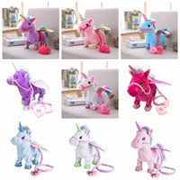 Wholesale singing plush online - Electric Unicorn Plush Doll Toys Walking Stuffed Animal horse Toy Electronic Music Singing pony Toy Chinldren Christmas Novelty Items GA1262