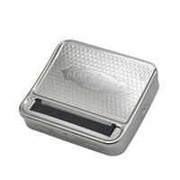 zigarettenroller groihandel-Neues Design Metall Tabak Roller Zigarettenhersteller Walzmaschine Zigarettenschachtel 70mm * 80mm Freies Shippin Silber OEM LOGO