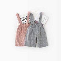 Wholesale Cute Fashion Baby Clothes - Everweekend Kids Girls Floral Overall Pants Candy Pink Gray Color Toddler Cute Baby Fashion Clothing