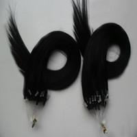 Wholesale micro loop link - Micro Link Human Hair Extensions Jet Black Brazilian Micro Ring Loop Hair Extensions 200g pc Micro Loop Human Hair Extensions