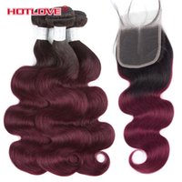 Wholesale ombre hair weave dark roots resale online - Brazilian Body Wave Ombre Human Hair Weaves Bundle with Lace Closure with Baby Hair Two Tone Color B J Dark Roots Burgundy