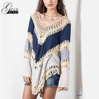 tığ işi bluz giyim toptan satış-Yaz Kadın Giyim Tığ Kanca Örgü Bluz V Yaka Hollow Gevşek Bluz Bohemian Plaj Bikini Genel Gömlek Kadınlar Boho Tops
