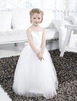 saten çiçek topları toptan satış-Balo Elbisesi Kat Uzunluk Çiçek Kız Elbise - Kanatlı Saten / Tül Kolsuz Spagetti Askılı