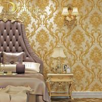 декор для стен гостиной оптовых- Simple European 3D Striped Damask Wallpaper For Walls Decor Modern Wall Paper Rolls For Bedroom Living Room Background