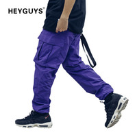 pantalon bouffant orange achat en gros de-HEYGUYS 2018 nouveau lâche Long Pantalon Hommes cargo pantalon Baggy Pantalon De Mode Fitted Bottoms rue porter hip hop Pantalon De Poche violet Y1892801