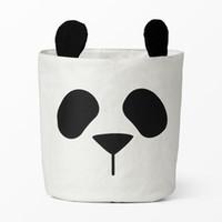 ingrosso tela della stanza del bambino-INS sacchetto di immagazzinaggio animale sveglio di vendita calda del Panda, vestiti del bambino dei bambini Vestiti della tela di canapa La borsa di immagazzinaggio del cestino della lavanderia può stare la decorazione 30 * 40CM della stanza