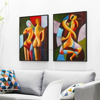seksi nudes yağlı boya toptan satış-2 piece nude painting sexy painting abstract modern canvas wall art decor handmade oil painting on canvas pictures living room