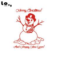 yılbaşı vinili pencere çıkartmaları toptan satış-Merry Christmas Kardan Adam Vinil Duvar Sticker Noel Dekorasyon Duvar Sanat Çıkartması Noel Hediye Dükkanı Pencere Ev Dekor için WA0612