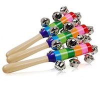 fabricante de ruido para juguetes al por mayor-Dibujos animados Rainbow Sonajeros Campana Juguetes de madera Orff Instrumentos Campanas Fiesta Festivo Creativo Generador de ruido para regalo de bebé 2 5zn jj