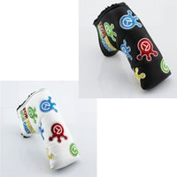 Wholesale cover crown - Crown T Exquisite Embroidery Golf Putter Club Headcovers PU leather L-style Universal Putter Protective Cover 2colors