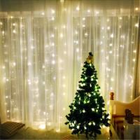 luces de hadas led conectables al por mayor-3x3 m conectable exterior led cadena luz de la cortina de hadas luz de Navidad guirnalda impermeable fiesta en el jardín boda luz de hadas AC 110V / 220V