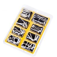 Wholesale intellectual toys - Intelligence Toys Metal Nine Continuous Ring Series Intellectual Buckle Eight Piece Set Interesting Learning Education Toys 3 4bt W