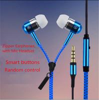 botões de zíper venda por atacado-Zip in-ear 3.5mm fone de ouvido com botões de metal mic com zíper fone de ouvido fone de ouvido para MP3 iphone 6 mais Ipod Samsung htc com caixa de varejo