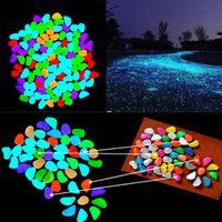 ingrosso pietre per giardini-100 pz Ornamenti Da Giardino Glow In The Dark Artificiale Luminoso Ciottoli Pietra Acquario Serbatoio di Pesce Decorazione di Cerimonia Nuziale A96486