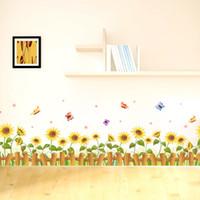 ingrosso adesivi al sole-Accogliente Golden Sun Flower Wall Stickers Camera dei bambini Camera da letto Cartoon pittura decorativa Bella carta da parati Home Decor 2 5pc Ww