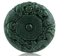 Wholesale nephrite pendant - Natural Green Hetian Jades Pendant 3D Carved Round BaGua With Dragon Phoenix Pendants Women Men's Amulet Nephrite Jades Jewelry