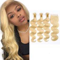 three part closure blonde großhandel-Peruanisches menschliches Haar 613 # Blonde Körperwelle bündelt mit 4X4 Spitze Schließung 4pieces / lot Mittlere freie dreiteilige Spitze Schließung mit 3 Bündeln