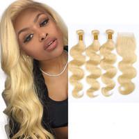 saç paketi üçlü kapanış toptan satış-Perulu İnsan Saç 613 # Sarışın Vücut Dalga Demetleri Ile 4X4 Dantel Kapatma 4 adet / grup orta Ücretsiz Üç Bölüm Dantel Kapatma Ile 3 Demetleri