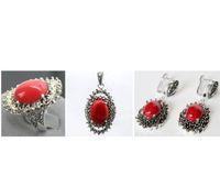laqué sculpté achat en gros de-La mode sculptée rouge laque marcassite bague en argent sterling 925 Floeer (# 7-10) Boucles d'oreilles bijoux ensembles Pandent