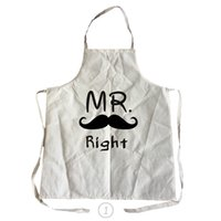 Wholesale Apron Patterns - Mr And Mrs Pattern Men Women Linen &Cotton Kitchen Cooking Apron For Couples Cleaning Aprons
