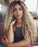 sarışın brazilian dalgalı saç toptan satış-Ombre T1B 613 Sarışın Tam Dantel İnsan Saç peruk Dalgalı Brezilyalı Bakire Saç 130 Yoğunluk Doğal Saç Çizgisi Ağartılmış Knot Dantel Ön Peruk