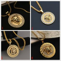 Wholesale gold necklace diamond pendant - Crystal Medusa Pendant Necklaces For Men Hip Hop Chains Luxury Hiphop Jewelry Gold Plated For Men Women